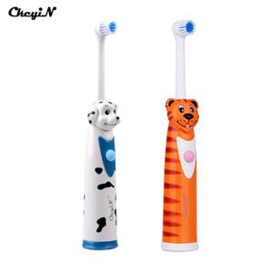 CkeyiN 2Pcs Batteriebetriebene elektrische Zahnbürste + 4 Bürstenköpfe Schalldrehende Zahnbürste Automatische rotierende Kinderzahnbürsten 24