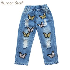 Humor Bear niños niños ropa 2017 NUEVA moda niñas pantalones bowknot bordado niñas pantalones vaqueros niños pantalones de mezclilla
