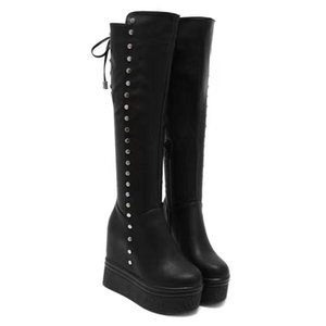 Women Winter Shoes Fashion Thigh High Boots For Women Black Rivet Platform Wedges Boots Over The Knee