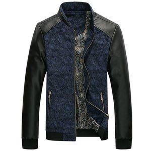 Mountainskin PU-Leder-Patchwork-Männer Jacken 4XL Herbst Mode Mäntel Herren-Oberbekleidung Stehkragen Männlich Kleidung Slim Fit SA332
