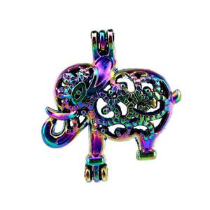 10 pçs / lote Rainbow Color Elefante Gaiola de Pérolas Gaiola Pingente Medalhão Difusor Aromaterapia Perfume Óleos Essenciais Difusor Flutuante Pom