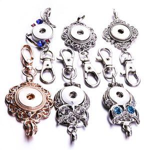 Noosa Snap Button Jewelry Owl Snap Llaveros Crystal 18MM Snap Button Keychains Llaveros Llaveros para mujeres