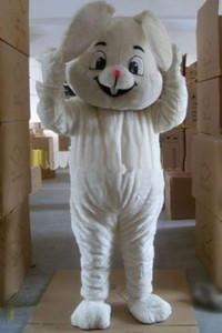 Costume de mascotte de lapin blanc thème animé Pâques souriant peluche lapin mascotte Cospaly Cartoon caractère Halloween Costume de fête