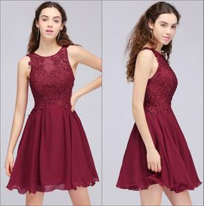 Barato Em Stock Lace Curto Vestidos Homecoming 2018 Chiffon Applique frisada A-Line joelho curto Evening Prom Vestidos CPS707 Real Imagem