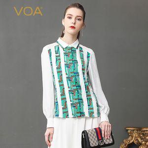 VOA Silk Jacquard Blouse White Slim Office Shirt Plus Size 5XL Women Tops Long Sleeve Basic Formal Summer Print Casual B336