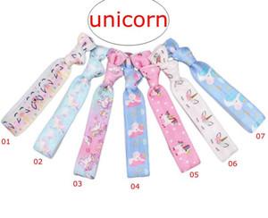 INS unicornio Imprimir anudado lazos del pelo de la cinta de lazo del pelo pulsera titulares de cola de caballo elástico vendas elásticos 7Colors para elegir