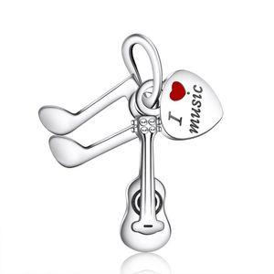 New I Love Music Pendenti Perline Braccialetti di marca fai da te Originale argento sterling 925 Smalto rosso Love Heart Violin Creazione di gioielli