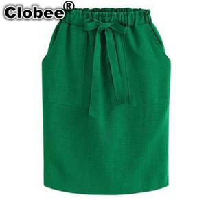 Clobee Summer Autumn Vintage Midi Skirt Women's A línea Elastic Waist Plus Size 3XL Office Cotton Skirt Jupe Femme Saias Jupe
