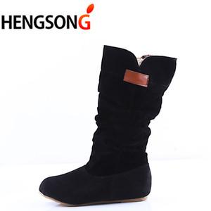 HENGSONG Moda Kadın Kar Botları Koruyun Sonbahar Kış Kadın Orta buzağı ss Tatlı Çizme Şık Düz Akın Ayakkabı RD854991