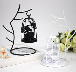 Ramas Jaula de pájaros Titular de la vela Candelabro De Hierro Adornos Blanco Negro Candelabros Decoración Del Hogar Romántica Cena de la boda Decoración