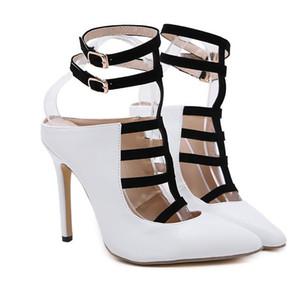 Seksi patchwork siyah beyaz T strappy sivri burun yüksek topuklu ofis bayan iş ayakkabıları 12 cm boyutu 35 ila 40 pompalar
