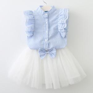 Camicie con maniche a petalo a righe con vestito a fiocco Camicie a due pezzi Abbigliamento casual dolce