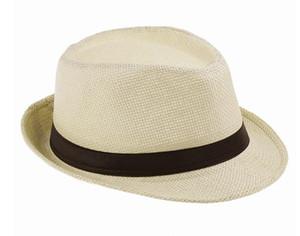 200 pcs / lote Mode Femmes Hommes Unisexe Fedora Trilby Gangster Cap Été Plage Soleil Paille Panama Chapeau Couples Amoureux Chapeau SN1203