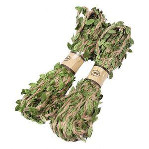 10mm / rollo de hojas verdes guita de hilo con hojas de seda Rústico etiquetas de envoltura de decoración de la boda artesanía cuerda de cuerda torcida