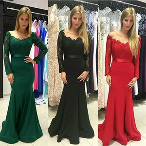 Elegante manga larga sirena verde vestidos de fiesta palabra de longitud vestido de fiesta más tamaño formales mujeres baratas largas con cuello en V encaje vestidos de noche