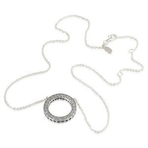 Collares corazón de plata se adapta a los encantos de estilo pandora 590514CZ-45 H8