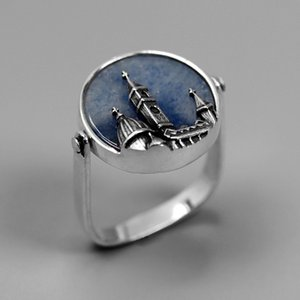 YESWOMEN 925 Sterling Silver Jewelry Rings Natural Blue Aventurine Handmade Florence Cathedral Cross Ring For Women Gifts Y18102610