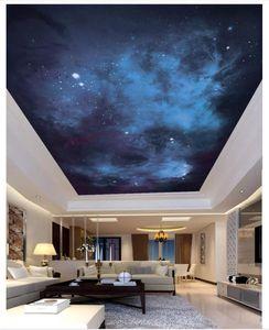 Sob encomenda da foto papel de parede 3d murais de teto papel de parede HD belo céu estrelado zenith teto mural papéis de parede para sala de estar decoração