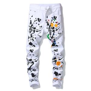 Nouveau Marque Designer De Mode Stretch Hommes Jeans blanc peinture à l'huile Skinny Pantalon Hommes Casual Coton Denim Graffiti Imprimé Pantalon 29-36