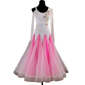 Ballroom-Walzer-Kleider Sale Competition Dress Ballroom Dance Kostüme Tango-Kleid Tanzen-Outfits D0445 Strasssteine Große schiere Saumapplikationen