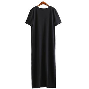 Yeni Yaz Uzun T Gömlek Kadın Siyah T-Shirt Seksi Yan Yarık Kısa Kollu Büyük Boy Ince Uzun Kadın O-Boyun Tops Tees Kadın Tshirt