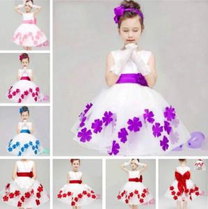 Kore Butik Marka Çocuk Konfeksiyon Orijinal Tek Kız Düğün Elbise Çiçek Kız Tam Elbise Etek Petal Prenses Elbise eldiven ile değil