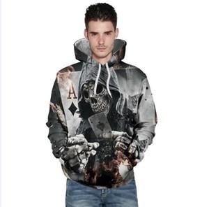 Frete grátis por atacado Homens Mulheres Crânio Pôquer 3D Digital Impresso Hoodies Hoodies Casal Camisola Plus Size 3XL