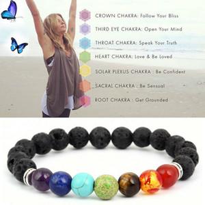 Йога Браслеты Black Natural Лава 7 Chakra Healing Баланс 8 мм бисер браслет для мужчин Женщины Молитва камни ювелирные изделия GGA1217