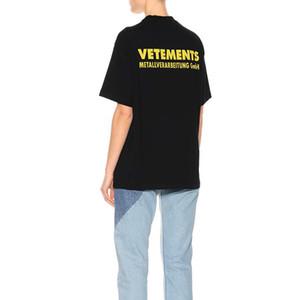 VT는 여성 커플 고품질의 편안한 블랙 남성 디자이너 T 셔츠 HFWPTX154 노란색 편지 로고 티 형광등