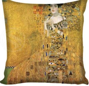 Venta caliente Gustav Klimt The Kiss Square Funda de almohada Cojín con cremallera personalizado Funda de almohada
