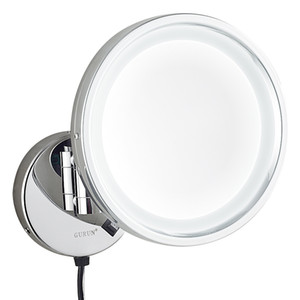 Gurun Bathroom Lighted Makeup Mirror with led Lights and Magnifying Wall Mount Cosmetic Folding Mirrors Brass M1807D