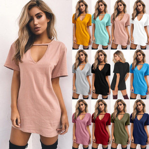 2017 Femmes D'été À Manches Courtes T-shirt Robe Suspendue V-cou Casual Sexy Halter Lâche Mini Tee Dress 3XL 1 pc Livraison Gratuite