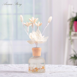 3 teile / los 80 ml Reed Diffusor mit Sola Blume, holzkappe und Decaled Glasflasche 6 Düfte 6 * 6 * 20 cm Rose / Ozean / Jasmin / Rose, etc.