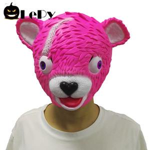 Halloween Cosplay Pink Bear Maschera di lattice Carino Testa piena Cosplay Cuddle Team Leader Battle Royale Maschera Animal Cartoon maschere di partito