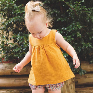 Baby Girls Summer Tops Kids Sleeveless Blouse Linen Cotton Children Soft Clothing Comfortable Toddler Clothes 5colors 5size