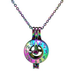 C600 Rainbow Color Lovely Clock pointer pointer Beads Cage Pendant Olio Essenziale Diffusore Aromaterapia Collana Gabbia con ciondolo medaglione