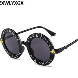 ZXWLYXGX 2018 nuevas gafas de sol pequeñas abejas marco redondo gafas de sol hombres y mujeres moda gafas gafas de sol tendencia UV400