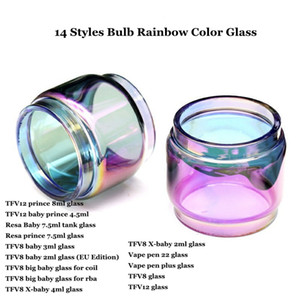 Fat Extended Pyrex Bulb Rainbow Color Replacement Glass Tube for prince Resa TFV8 big baby Zeus X-baby Vape Pen 22 plus Atomizer DHL