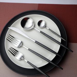 JANKNG Dinnerware Set 304Stainless Steel Black Серебряный набор столовых приборов 10PCS Home Tableware Set Dinner Knife Fork Scoops Silverware