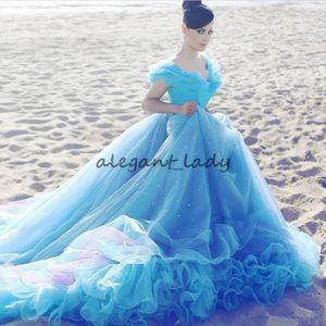 Robe de mariée bleue clair Cendrillon pas cher robe de bal en cristal hors épaule perles train robe de mariée