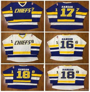 Hanson Brothers Charlestown Hockey Jerseys # 16 Jack # 17 Steve # 18 Jeff SlapShot Movie Jerseys Stitched Livraison gratuite