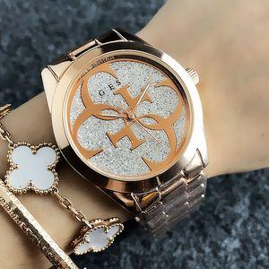 estilo de moda reloj de la muchacha de línea de estilo de metal de acero cuarzo de la venda de las mujeres de la marca GS6990