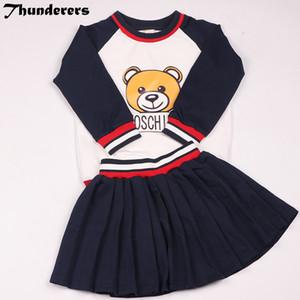 2018 Conjuntos de ropa de verano para niños Juego de oso Hermano y hermana Estilo largo corto Mangas cortas y cortas Falda corta Conjuntos bonitos Y18102407