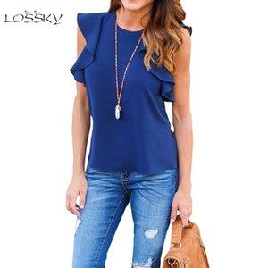 LOSSKY 2017 лето женщины оборками рукав блузки рубашка рукав элегантный симпатичные с плеча O-образным вырезом без рукавов шифон блузка рубашки