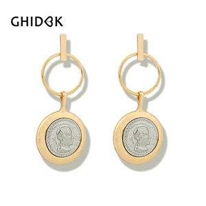 GHIDBK Vintage Drop Portrait Coin Hoop Pendientes para Mujer Declaración Grandes Pendientes de Disco Aros Minimalista Metal Al Por Mayor