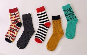 Yeni Stil Erkek Renkli İş Pamuk Marka Erkekler Çorap, Renkli Elbise Çorap Us 7 .5 -12 (5 Çiftleri / Lot) Drop Shipping