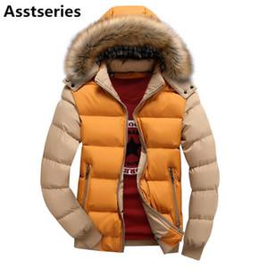 Asstseries otoño invierno chaqueta de los hombres Parka con capucha abrigo masculino abrigos casuales acolchado Wadded acolchado chaleco moda cuello de piel sintética