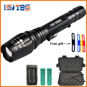 LED Flashlights Torch 5000Lumens CREE XM-L T6 zoomable led torch For 2x18650 batteries aluminum+charger+Gift box+Freer+Gift box+gift