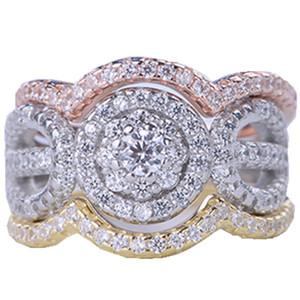Nouveau Luxe Sterling 925 Argent 3 Ronds Anneau Ensemble 3A CZ Femmes Anneaux De Mariage En Cristal Classique Bagues De Fiançailles Bijoux Wholsale Cadeaux