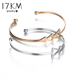 whole sale17KM Small Scratch e Open Bracelet Bangles for Women 2017 Vintage Female Rose Gold Color Silver Color Cuff Bangle Jewelry